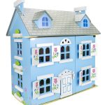 Leomark Blue Wooden Dolls House with Furniture and Dolls