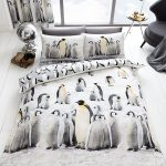 3D Penguins King Size Duvet Cover and Pillowcase Set