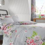 Alice Floral Double Duvet Cover and Pillowcase Set – Grey and Pink
