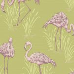 Vintage Lagoon Flamingo Wallpaper Green and Pink Arthouse 252602