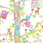 Woodland Fairies Glitter Wallpaper White Arthouse 667001