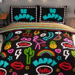 Be Happy Neon Double Duvet Cover and Pillowcase Set