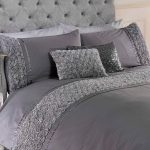 Limoges Rose Ruffle Grey King Size Duvet Cover and Pillowcase Set