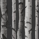 Birch Trees Wallpaper Black and Silver Fine Decor FD31052