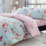 Birdie Blossom Floral Double Duvet Cover and Pillowcase Set – Blue