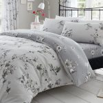 Birdie Blossom Floral Double Duvet Cover and Pillowcase Set – Grey