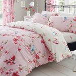 Birdie Blossom Floral Double Duvet Cover and Pillowcase Set – Pink
