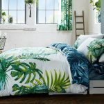 Botanical Palm Leaves Double Duvet Cover and Pillowcase Set