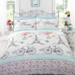 C'est La Vie Paris Pink King Size Duvet Cover and Pillowcase Set