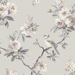 Chinoiserie Bird Wallpaper Grey Fine Decor FD40764