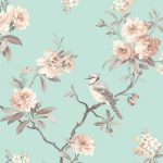 Chinoiserie Bird Wallpaper Teal Fine Decor FD40768