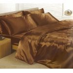 Chocolate Satin King Duvet Cover, Fitted Sheet and 4 Pillowcases