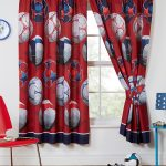Red Football Themed Lined Curtains