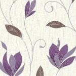 Synergy Floral Glitter Wallpaper Plum Vymura M0778