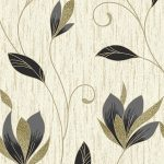 Synergy Floral Glitter Wallpaper Black Gold Vymura M0908