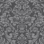 Crown Luxe Highgrove Damask Wallpaper Charcoal M1203