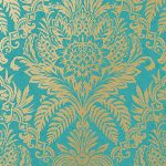 Crown Signature Damask Wallpaper Rich Teal M1064