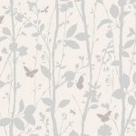 Dazzle Trees and Butterflies Glitter Wallpaper White Fine Decor