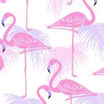 Flamingo and Palm Leaves Wallpaper Pink and Lilac Fine Decor FD42214