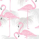 Flamingo and Palm Leaves Wallpaper – Pink and Grey – Fine Decor