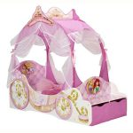 Disney Princess Carriage Toddler Bed with Storage and Foam Mattress