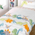 Dinosaurs Double Duvet Cover and Pillowcase Set – Natural