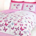 Butterfly Flutter Double Duvet Cover and Pillowcase Set – Pink