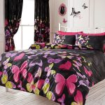 Fashion Butterfly Double Duvet Cover and Pillowcase Set – Black