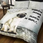 Peace Pugs & Rock n Roll Double Duvet Cover Set
