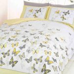 Butterfly Flutter King Size Duvet Cover and Pillowcase Set – Lemon