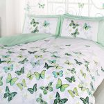 Butterfly Flutter Double Duvet Cover and Pillowcase Set – Green