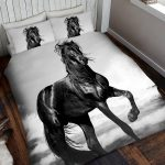 Black Horse Double Duvet Cover and Pillowcase Set