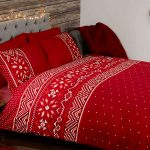 Nordic Christmas Double Duvet Cover and Pillowcase Set – Red