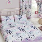 Stardust Unicorn Double Duvet Cover and Pillowcase Set – Purple and
