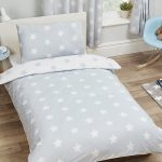 Grey and White Stars Single Duvet Cover and Pillowcase Set