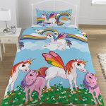 Rainbow Unicorns Single Duvet Cover and Pillowcase Set