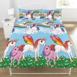 Rainbow Unicorns Double Duvet Cover and Pillowcase Set
