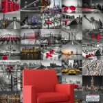 Creative Collage City Scapes Designer Wall Mural – 64 Piece