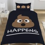 Emoji Mr Poo Single Duvet Cover and Pillowcase Set – Black