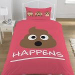 Emoji Mr Poo Single Duvet Cover and Pillowcase Set – Pink