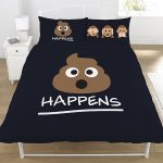 Emoji Mr Poo Double Duvet Cover and Pillowcase Set – Black