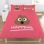 Emoji Mr Poo Double Duvet Cover and Pillowcase Set – Pink