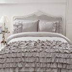 Flamenco Ruffle Grey King Size Duvet Cover and Pillowcase Set