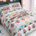 Follow Your Heart Geometric King Size Duvet Cover and Pillowcase Set