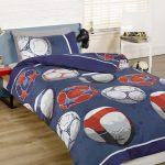 Football Single Duvet Cover and Pillowcase Set – Blue