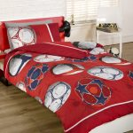 Football Single Duvet Cover and Pillowcase Set – Red