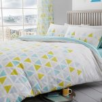 Geometric Triangle Double Duvet Cover and Pillowcase Set – Teal