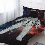 Astronaut Single Cotton Duvet Cover and Pillowcase Set