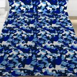 Blue Camouflage Double Duvet Cover and Pillowcase Set