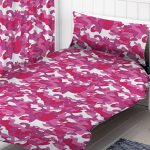 Pink Camouflage Single Duvet Cover and Pillowcase Set
